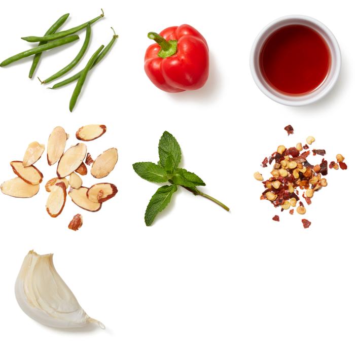 Sautéed Green Beans & Bell Pepper with Almonds & Mint
