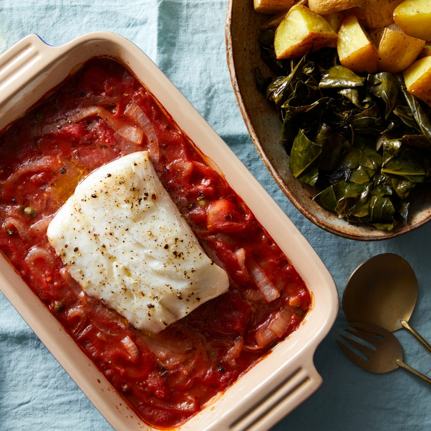 Baked Cod in Tomato Sauce with Collard Greens & Roasted Potatoes