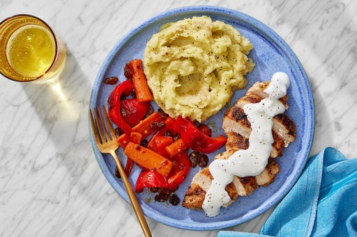 Seared Chicken & Goat Cheese Sauce with Mashed Potatoes & Carrot-Pepper Agrodolce