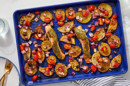Sheet Pan Pesto Salmon & Vegetables with Olives & Capers