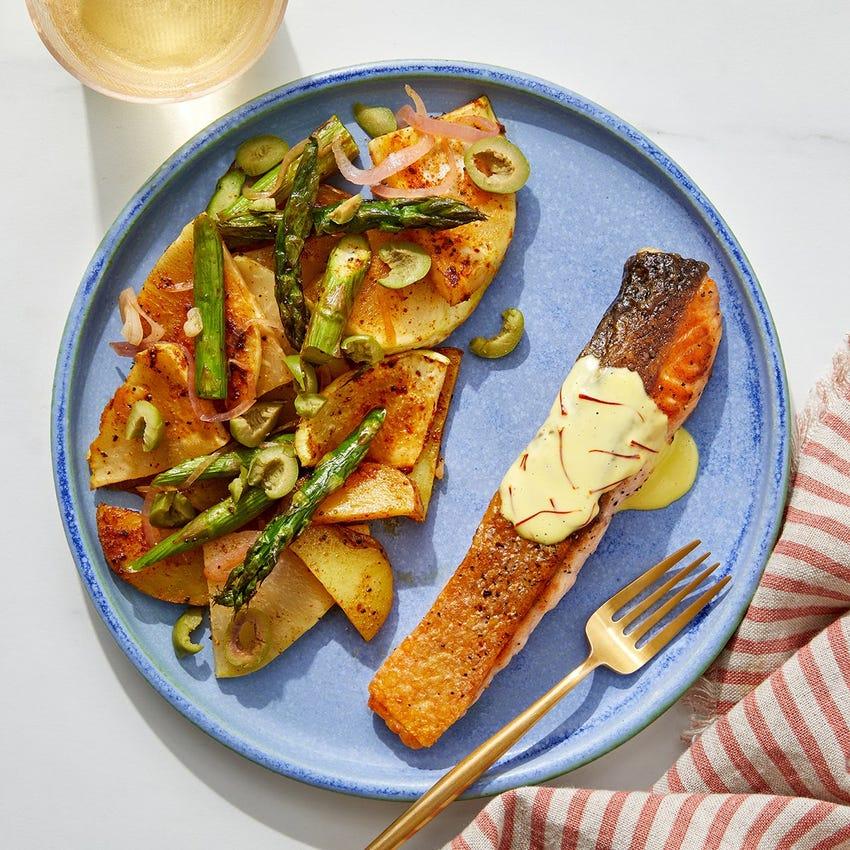 Crispy Skin Salmon & Saffron Mayo with Roasted Potatoes, Kohlrabi &  Asparagus