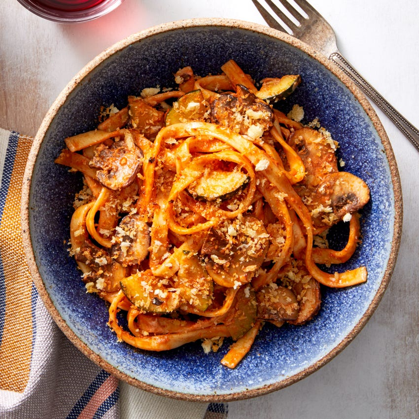 Creamy Tomato Fettuccine with Mushrooms & Thyme Breadcrumbs