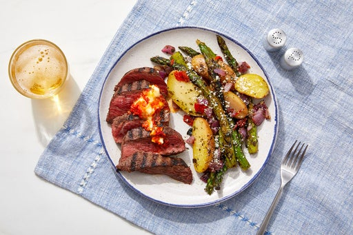 Grilled Steaks & Chile Butter with Rosemary Fingerling Potatoes & Asparagus