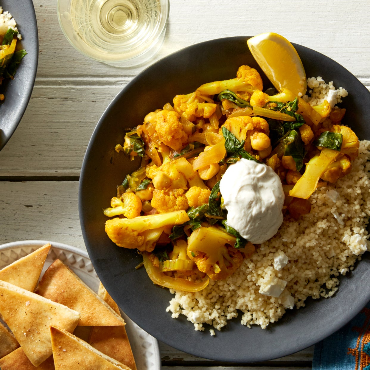 Chickpea & Cauliflower Tagine with Couscous & Pita Chips