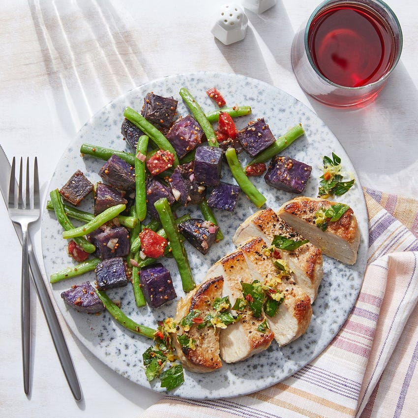Seared Pork Chops & Gremolata with Roasted Green Beans & Purple Potatoes
