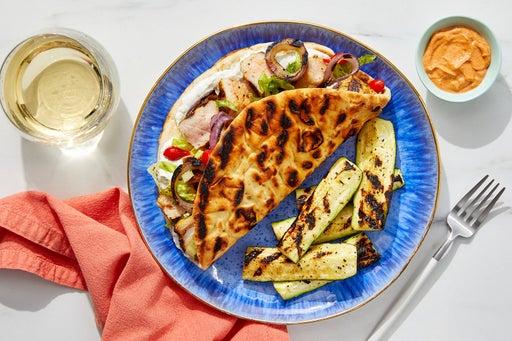 Grilled Pork & Tzatziki Pitas with Zucchini & Harissa Mayo
