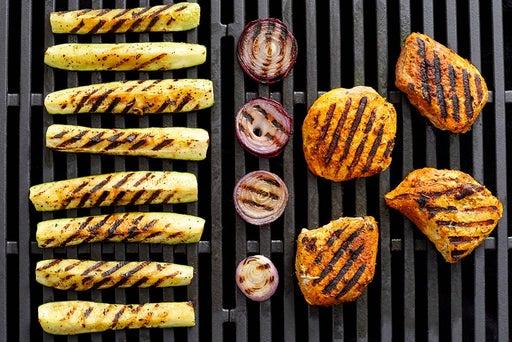 Grill the pork & vegetables