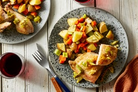 Roasted Chicken & Rosemary Vegetables with Olive-Lemon Sauce