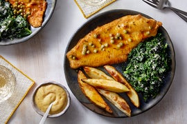 Catfish & Green Peppercorn Sauce with Oven Fries & Creamed Kale