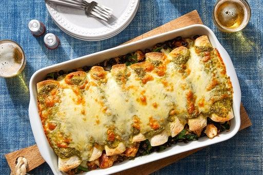 Chicken & Black Bean Enchiladas with Spinach Rice & Creamy Cilantro Sauce