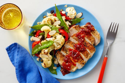 Calabrian Honey Pork Chops with Roasted Vegetables & Almonds
