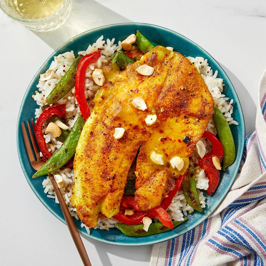 Mango-Curry Tilapia with Mustard Seed Rice & Sautéed Vegetables