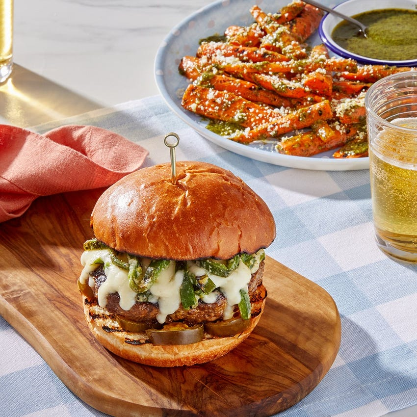 Grilled Monterey Jack & Poblano Burgers with Cilantro-Lime Carrots