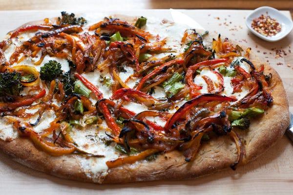Peperonata Pizza with Broccolini & Fresh Mozzarella