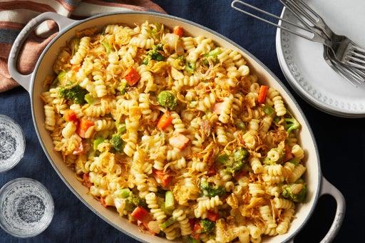 Fusilli & Broccoli Casserole with Crispy Onions