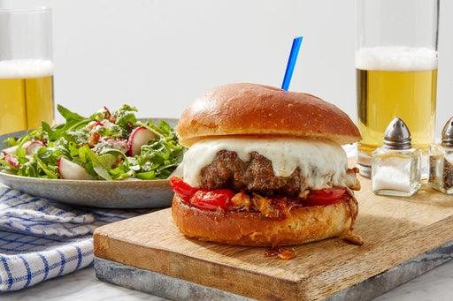 Mozzarella & Tomato Jam Burgers with Balsamic Onion, Radish & Arugula Salad