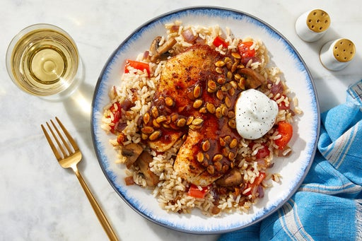 Chipotle-Fig Glazed Tilapia & Barley with Mushrooms, Bell Pepper & Pepitas