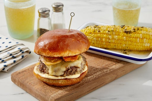 Smoked Gouda & Fried Pickle Burger with Corn on the Cob & Garlic-Herb Butter