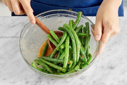 Blanch & dress the green beans