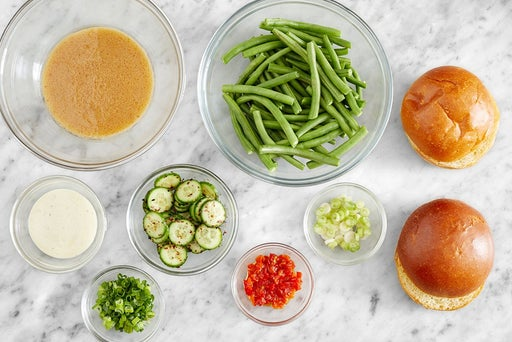 Prepare the ingredients & make the miso-ginger dressing