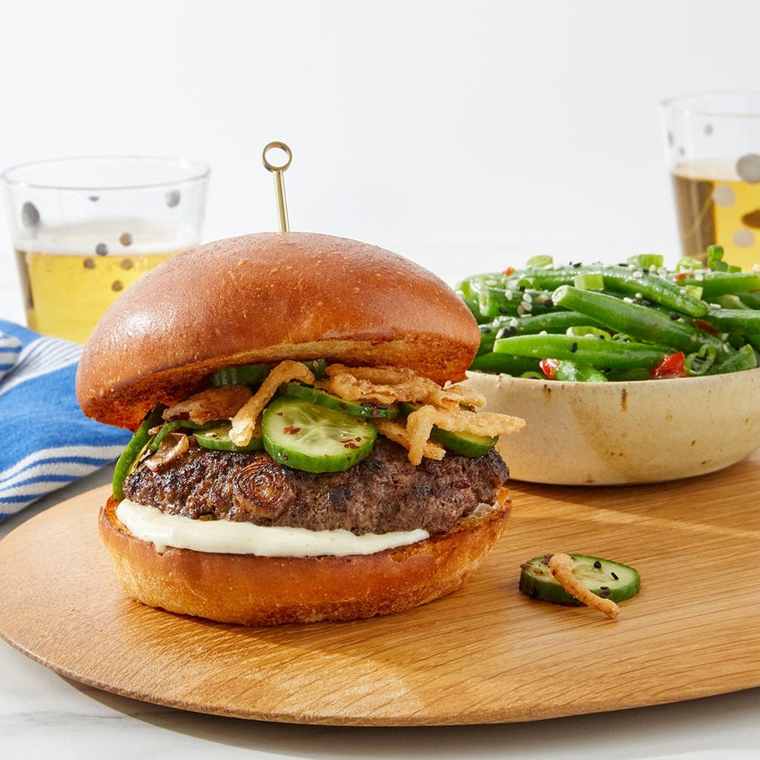 Crispy Onion & Spicy Mayo Burger with Miso-Ginger Green Beans