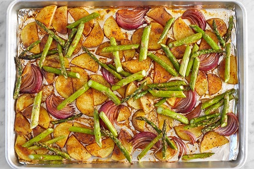 Add the asparagus & finish the vegetables