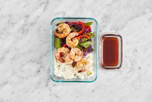 Assemble & Store the Shrimp & Togarashi Vegetables