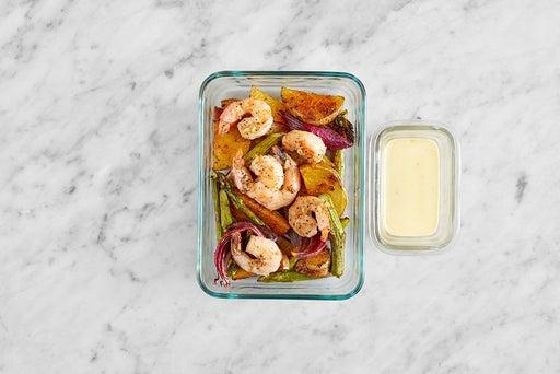 Assemble & Store the Spanish Shrimp & Veggies