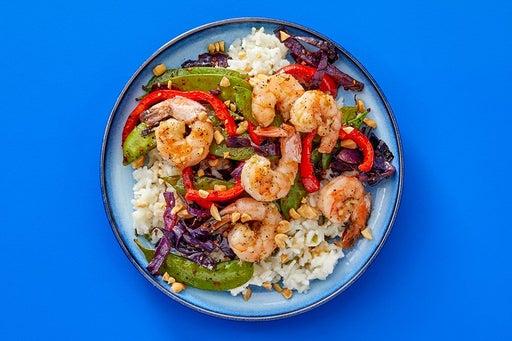 Finish & Serve the Shrimp & Togarashi Vegetables