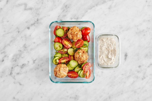 Assemble & Store the Turkey Meatball Salad