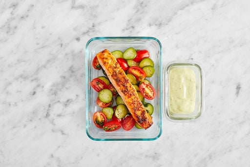 Assemble & Store the Baked Salmon Salad