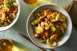 Spicy Pork & Korean Rice Cakes with Baby Bok Choy