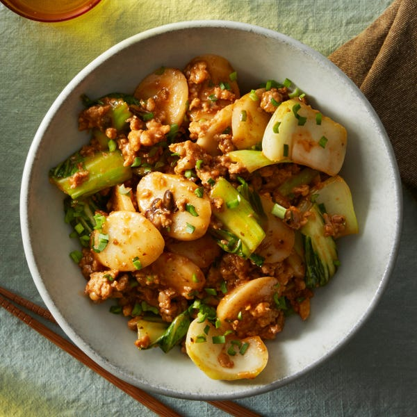Spicy Pork & Korean Rice Cakes with Bok Choy