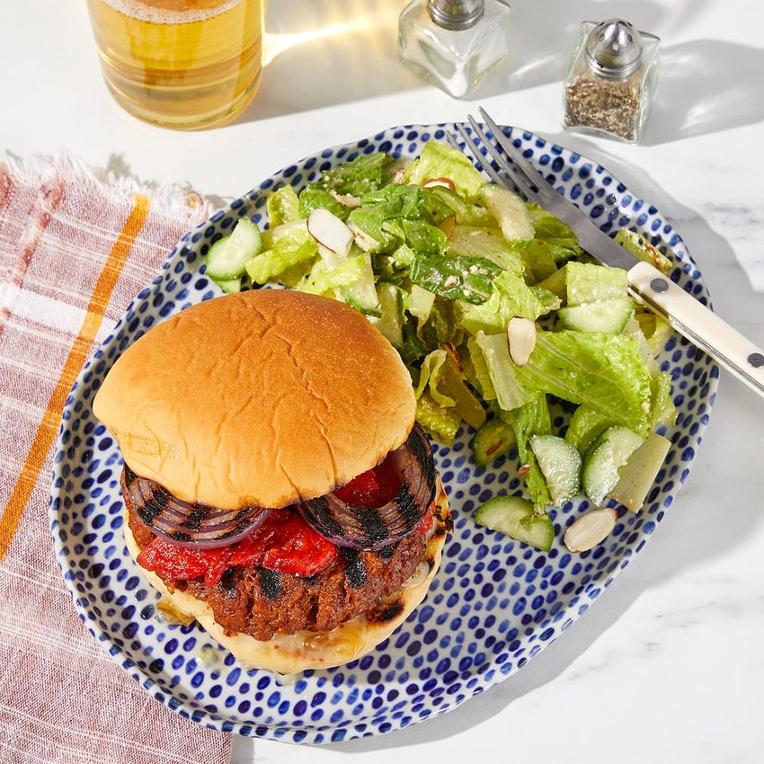 Grilled Pork Chorizo Burgers with Fig Mayo  & Roasted Peppers