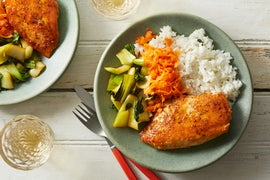 Soy-Glazed Chicken with Sesame Carrots & Rice