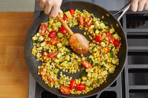 Cook the vegetables & finish the quinoa
