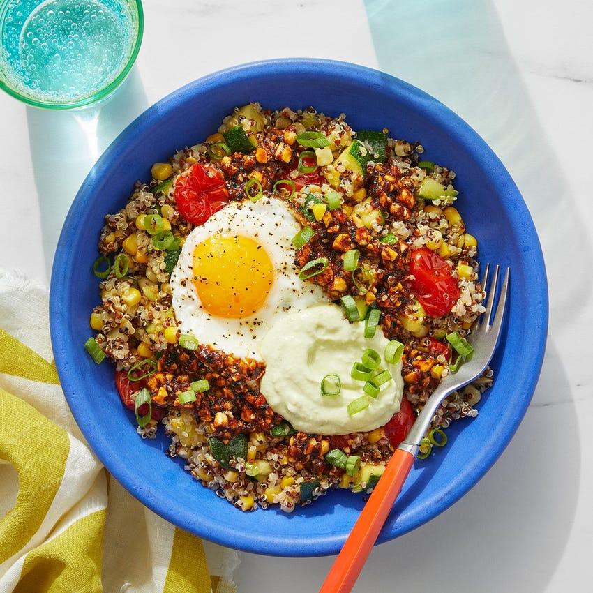 Quinoa, Corn & Zucchini Salad with Salsa Macha & Creamy Guacamole