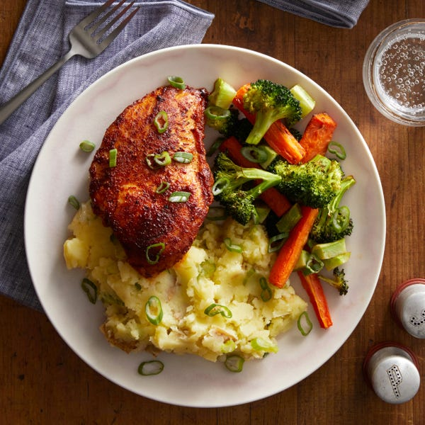Chile & Orange-Glazed Chicken with Roasted Vegetables & Garlic Mashed Potatoes
