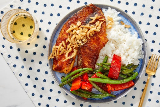 Curry-Glazed Tilapia & Rice with Ginger Green Beans & Peppers