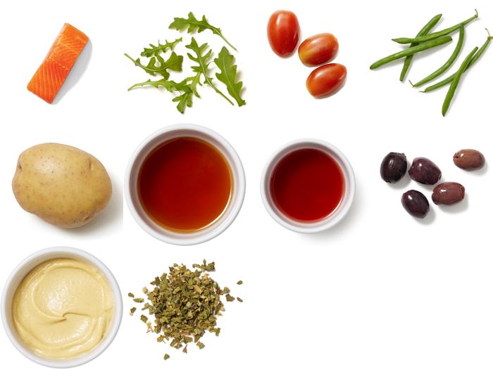 Dijon-Roasted Trout & Potatoes with Arugula Salad & Honey-Olive Vinaigrette