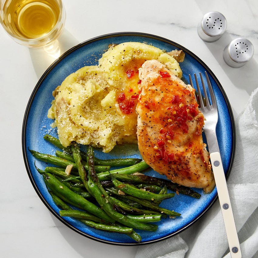 Pan-Seared Chicken & Mashed Potatoes with Calabrian-Brown Sugar Pan Sauce