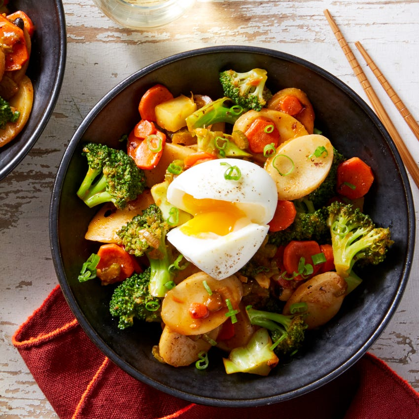 Soy-Glazed Korean Rice Cakes with Broccoli & Soft Boiled Eggs