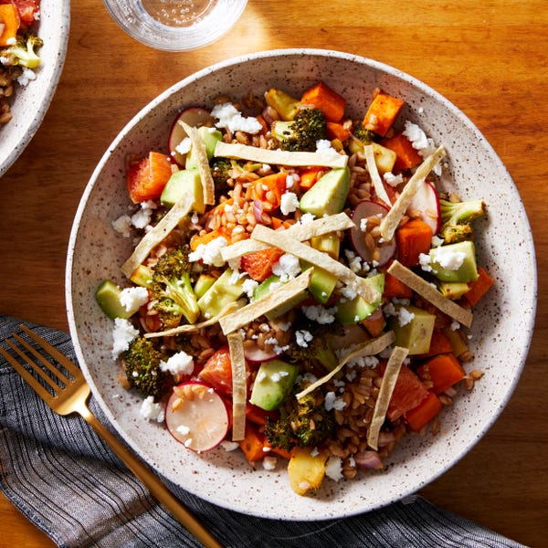 Chipotle Roasted Vegetable Salad with Farro, Orange, & Tortilla Strips