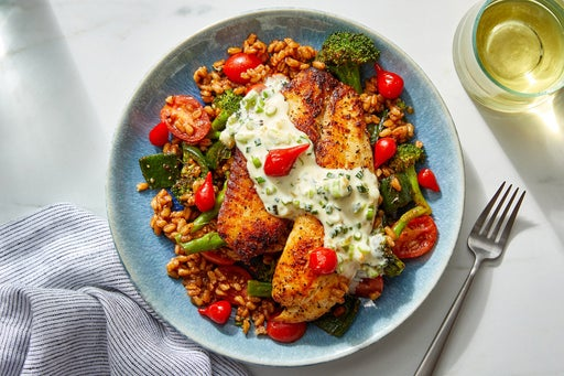 Southern-Spiced Tilapia & Scallion Mayo with Vegetable Farro & BBQ Sauce