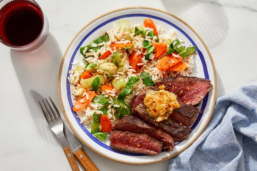 Miso Butter Steaks with Bok Choy & Carrot Rice