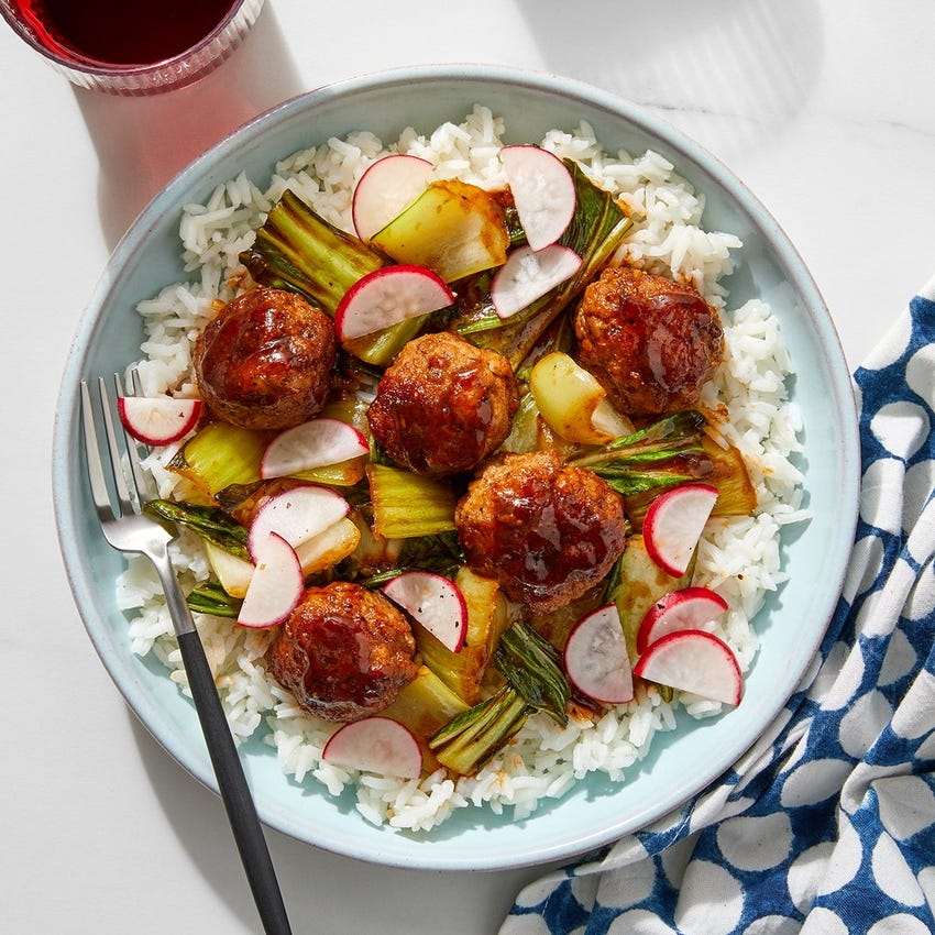 Ginger Pork Meatballs with Bok Choy & White Rice
