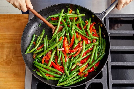 Cook the green beans & peppers
