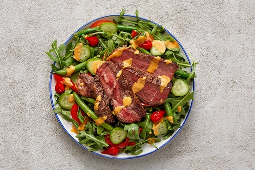 Finish & Serve the Seared Steak Salad