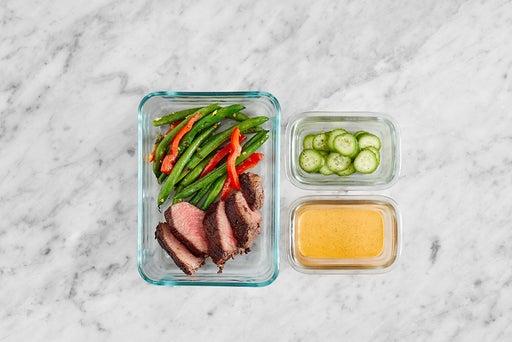 Assemble & Store the Seared Steak Salad