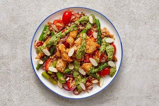 Finish & Serve the Creamy Pesto Chicken & Farro